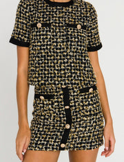 Coco Metallic Tweed Top - Black