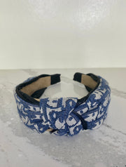 Dior Inspired Top Twist Headband - Navy