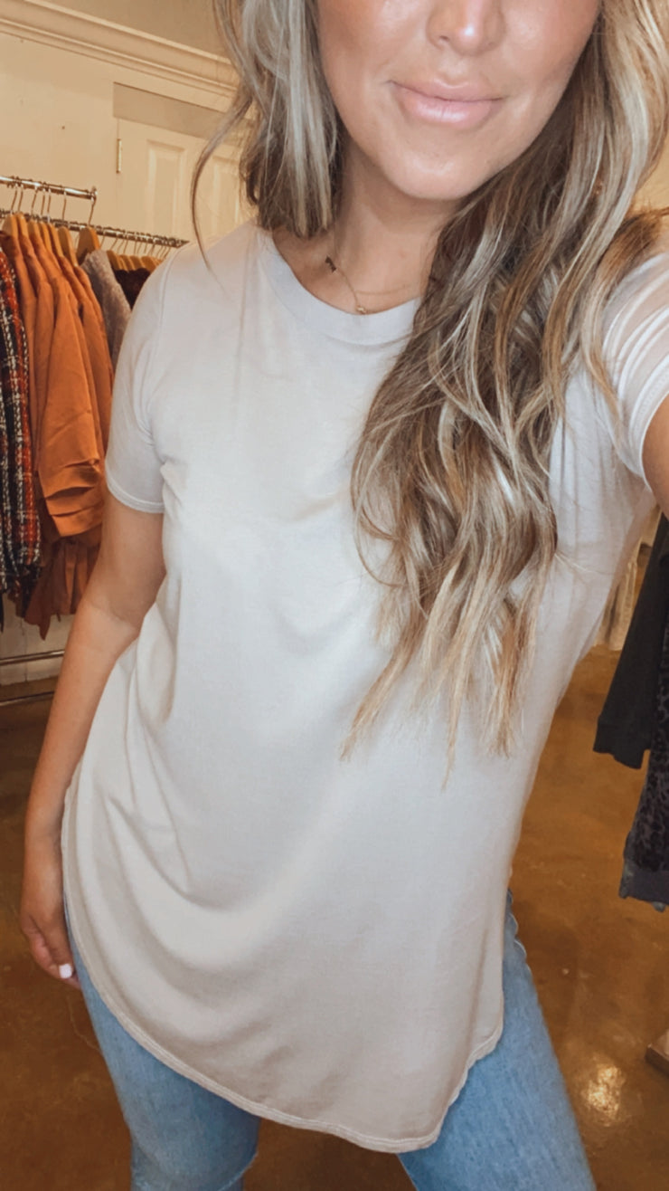 Keepin It Simple Basic Hi-Lo Top - Taupe