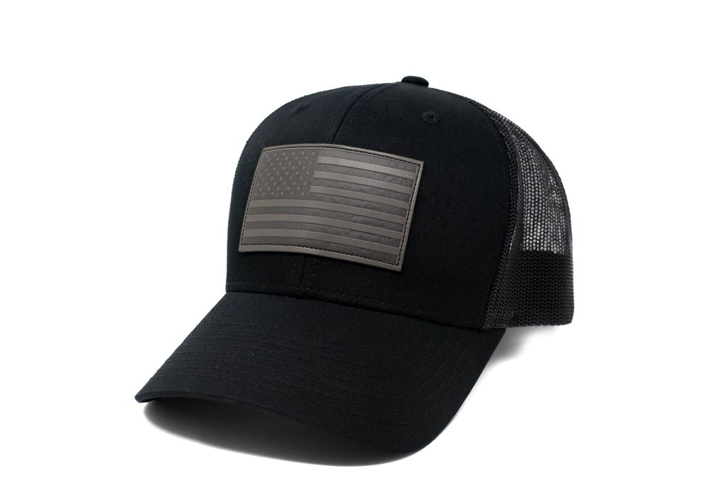 Grey Patch American Flag Hat - 13 Stripes