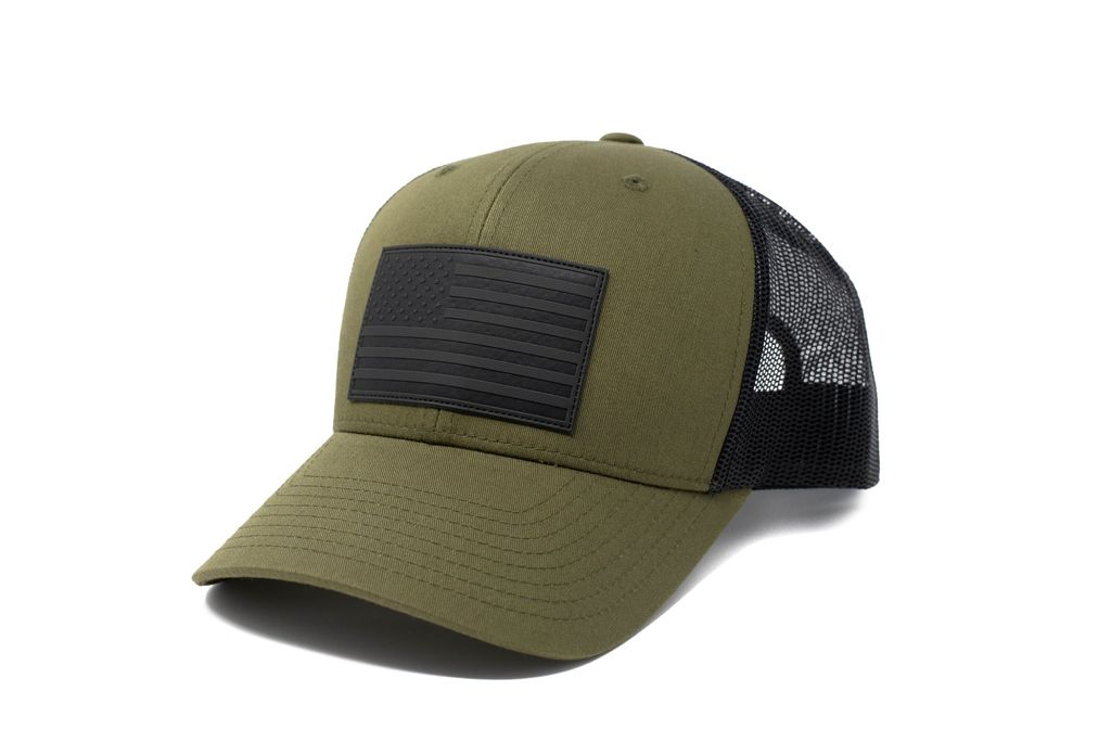 Moss Green American Flag Hat - 13 Stripes