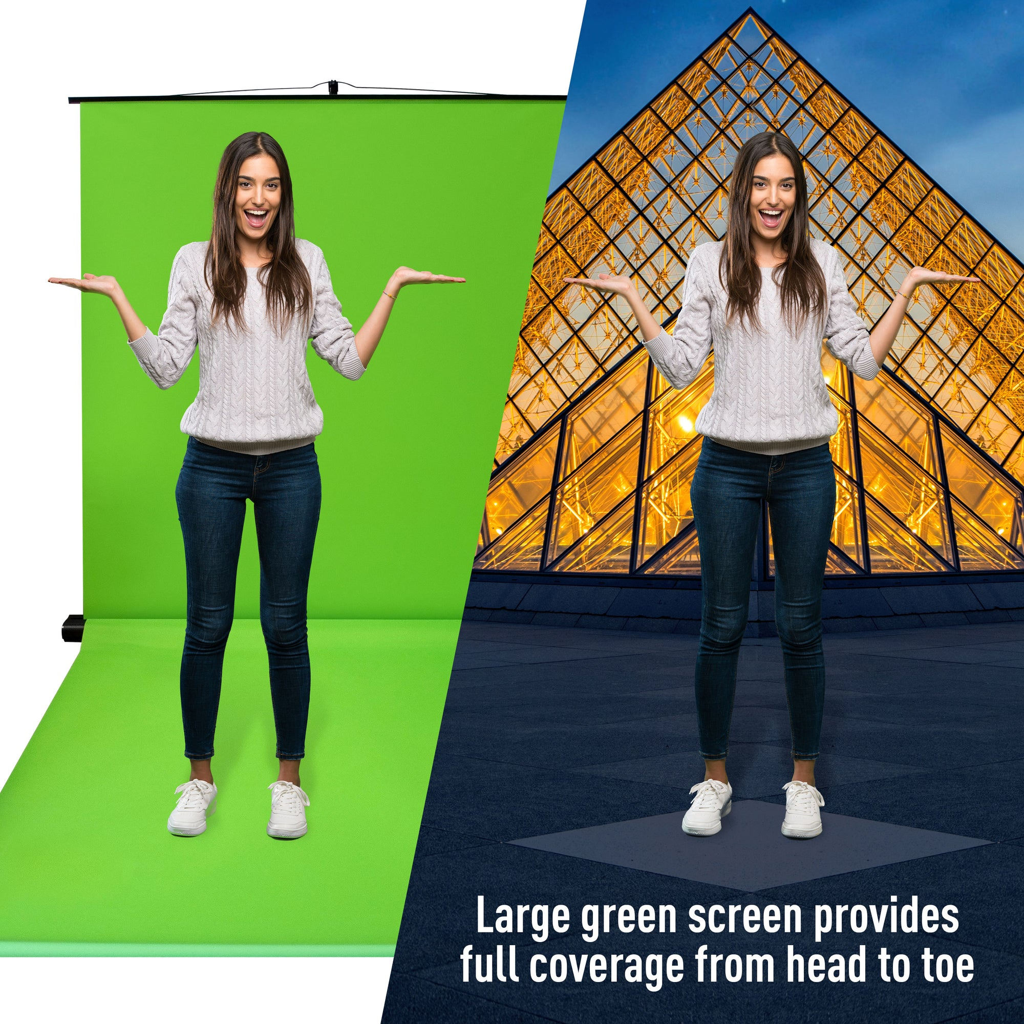 Valera Creator 95 Inch Portable, Collapsible Green Screen with Floor Mount Kit