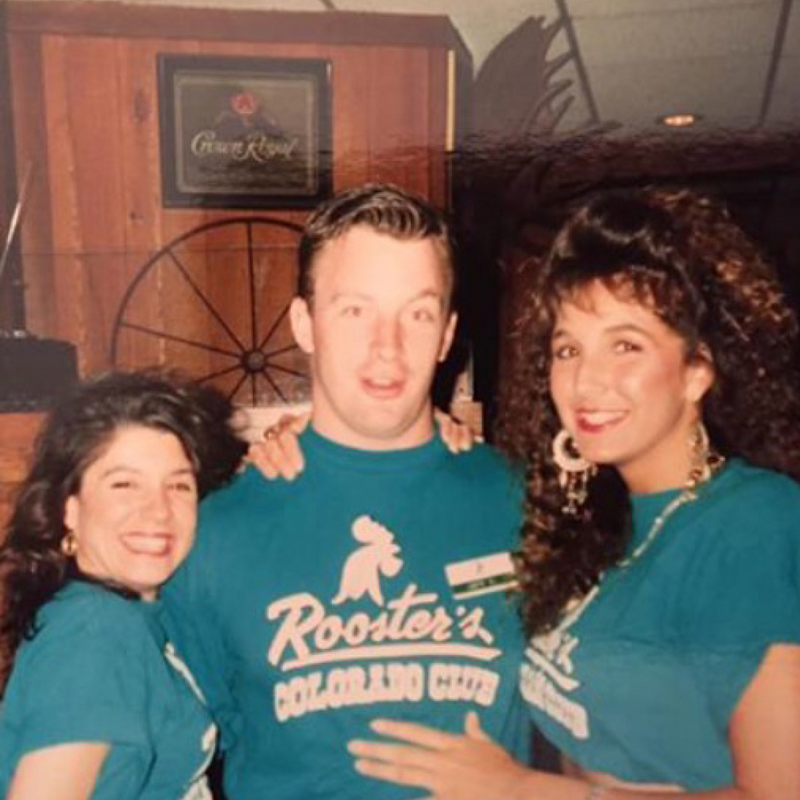 Three people wearing a Rooster's Colorado Club shirt.