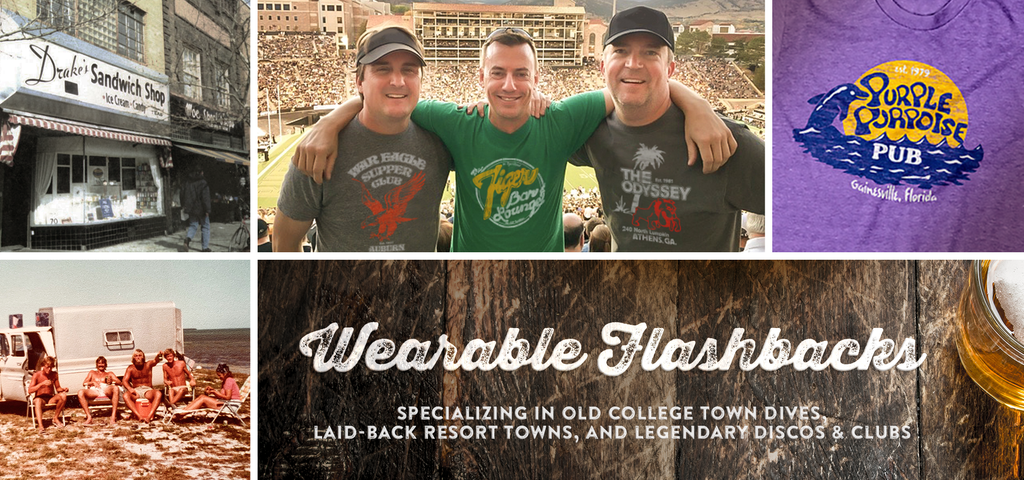 Wearable Flashbacks - Specializing in old college town dives, laid-back resort towns, and legendary discos & clubs