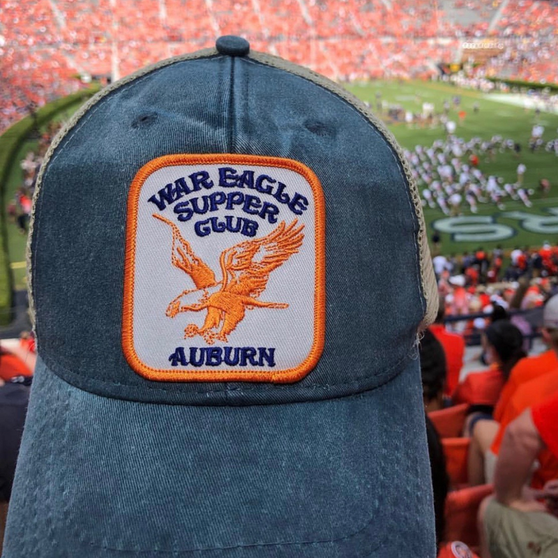 War Eagle Patch Hat overlooking an Auburn football game.