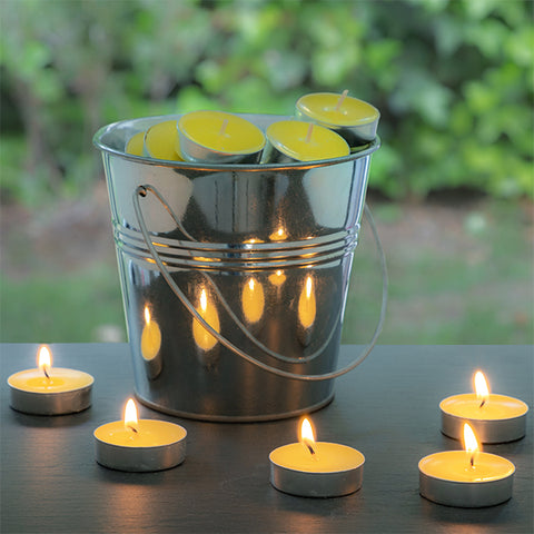 Citronella Candles with Decorative Bucket (50 Candles) - click-encasa