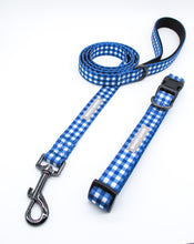 Load image into Gallery viewer, WG Label | Blue Gingham Collar + Leash Set