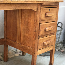 Mid Century Extending Utility Oak Desk