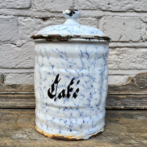 Vintage French Enamel Kitchen Cannister (sold)