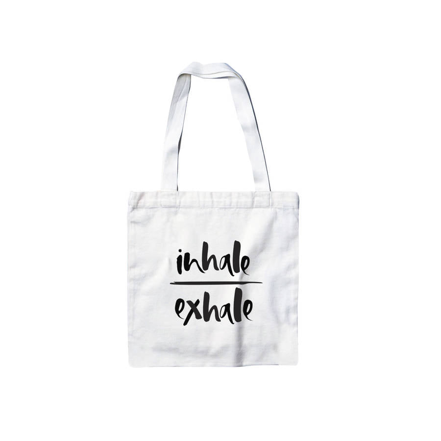 'Inhale/Exhale' Cotton Canvas Tote Bag