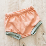 9/12m Peach and Teal Shorties