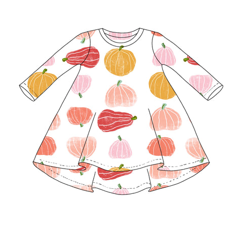 Pink Pumpkin Long Sleeve T shirt Dress- Preorders
