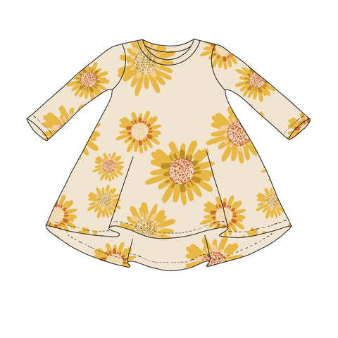 Sunflower Long Sleeve T shirt Dress- Preorders