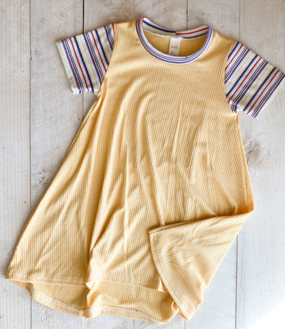 3/4t Yellow and Stripe Tshirt Dress