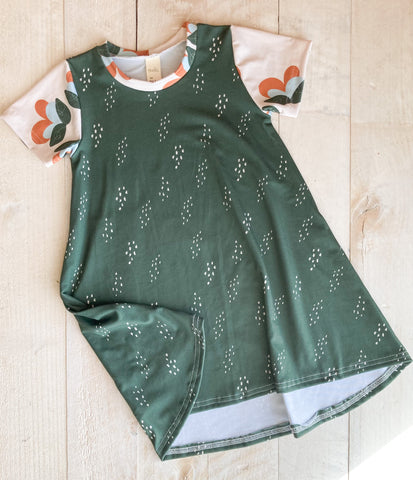 3/4t Green Stipple Tshirt Dress