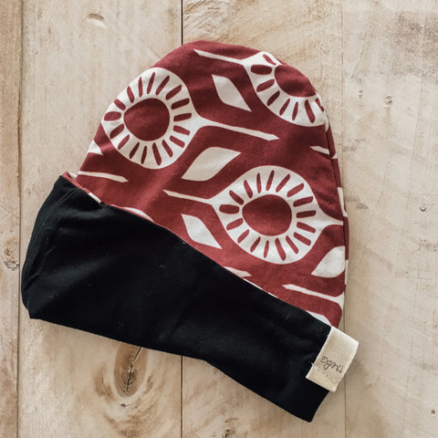 9/12m Maroon & Solid Black Slouch Beanie