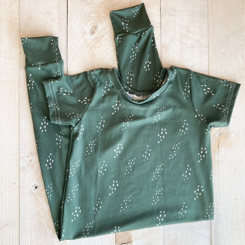 2/3t Green Stipple Harem Romper