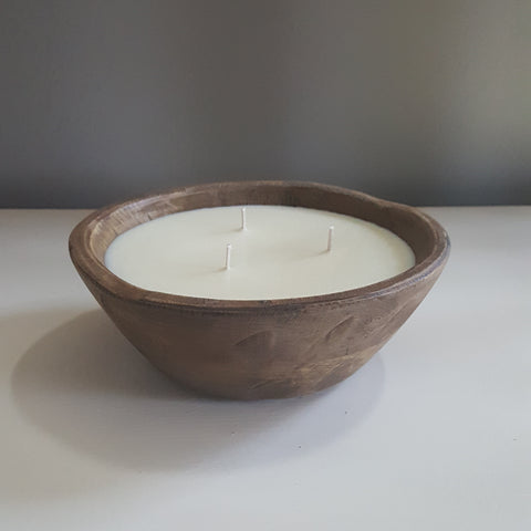 Hand Carved Wood Bowl (teakwood & cardamom scented)