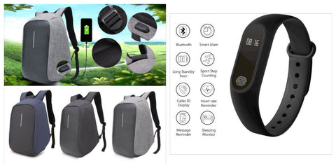 Anti-Theft Backpack and M2 Smart Fitness Band Combo