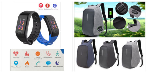 Anti-Theft Backpack and WearFit Health Tracker Combo