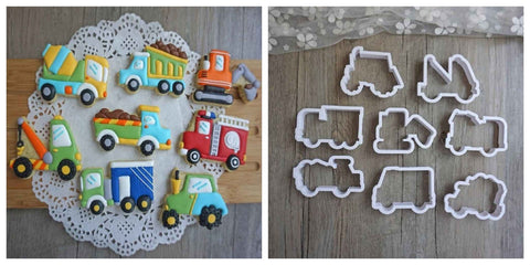 Construction Truck Cookie / Sandwich Cutters - Set of 8