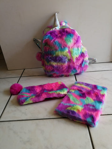 Unicorn Fluffy Bag with Pencil Case and Notebook
