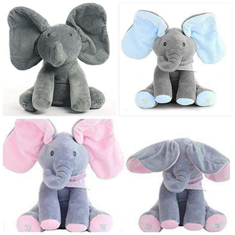 Peek-a-Boo Interactive Elephant Plush - Grey / Pink / Blue