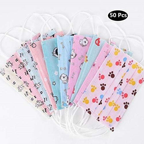 3Ply Kids Disposable Masks - Mixed Designs - 50 Pack