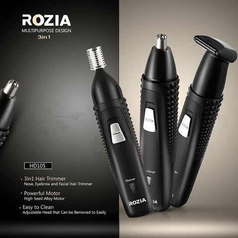 Rozia Professional 3-in-1 Nose Facial Eyebrow Rechargeable Hair Trimmer