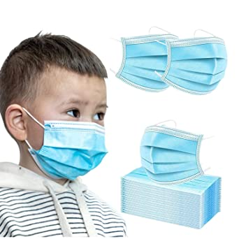 3Ply Kids Disposable Masks - BLUE - 50 Pack
