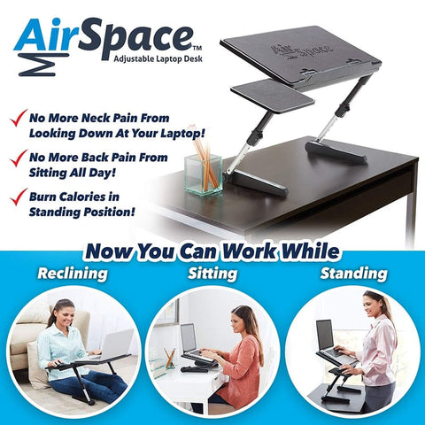 Air Space - Adjustable Laptop Desk Stand with Built-in Cooling Fan