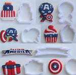 Captain America Cookie / Sandwich Cutters - Set of 8