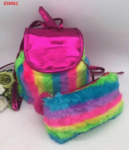 Fluffy Backpackwith Pencil Case