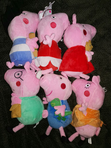 Pig Family of 6 20cm Soft Toys