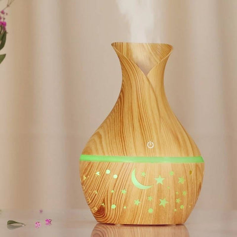 Wooden Vase Humidifier - Star Patterned - 300ml