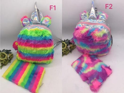 Unicorn Fluffy Bag with Notebook