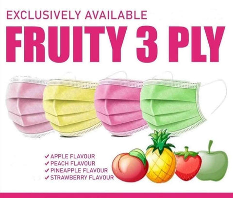 3 Ply Disposable Masks - Fruit Scented- 100 Pack