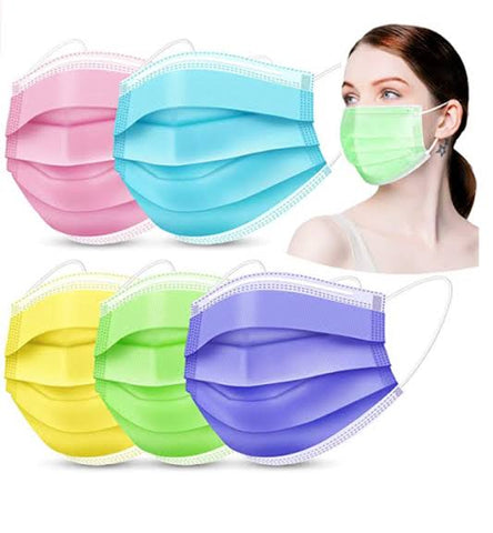 3 Ply Disposable Masks - (Pack of 50) - MIXED COLOURS