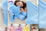 Large Elephant Pillow with Blanket