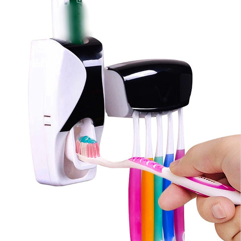 Easy Toothpaste Dispenser & Tooth Brush Holder