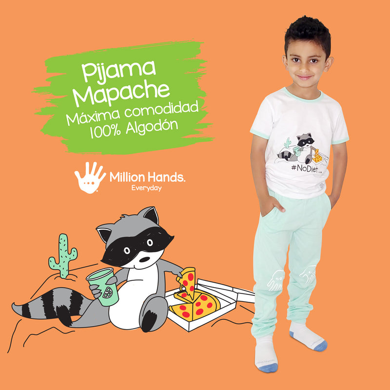 Pijama Mapache Niño - Million Hands 3 Pack