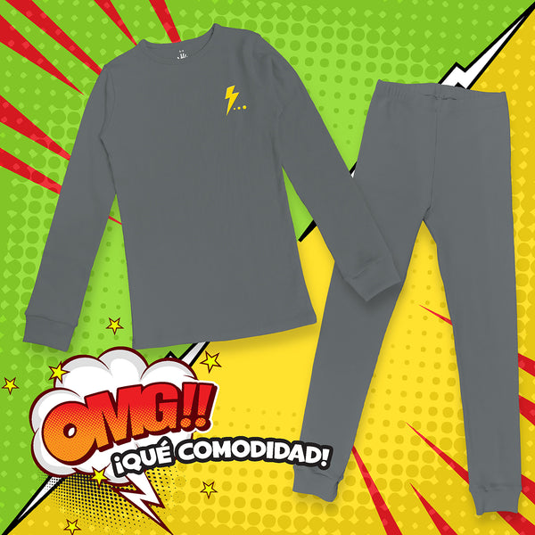Pijama Niño Under Rip Gris Oxford.