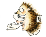 Writing hedgehog