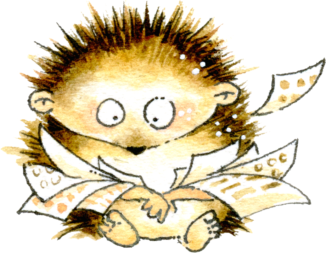 Hedgehog with stickers