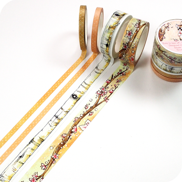 Thin Washi Tape for Spring - Wood Colors