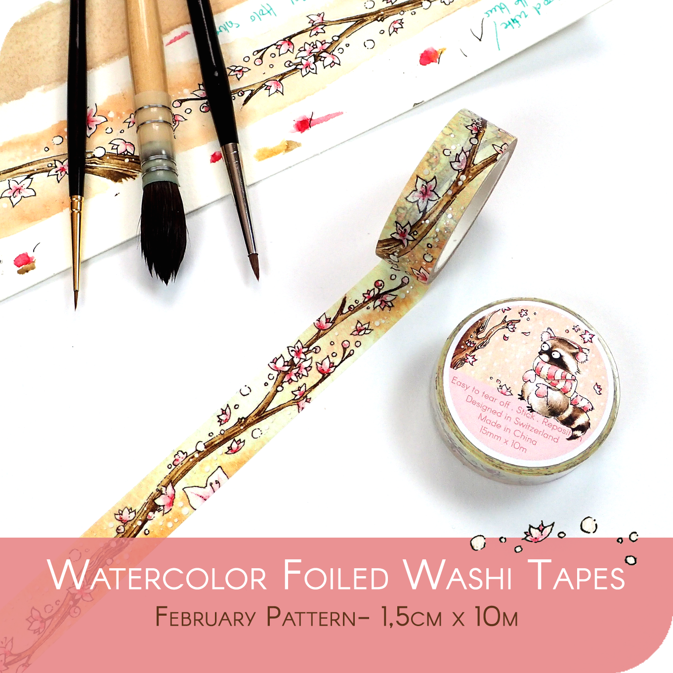 Foiled Washi Tape for Spring - Cherry Blossom Tree with Silber Foil