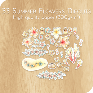 Summer 2020 Collection - 33 Watercolor Flowers Diecuts