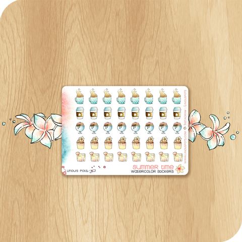 Summer 2020 Collection MINI SHEET - Drinks, Cupcakes & Ice Creams