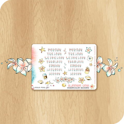 Summer 2020 Collection MINI SHEET - Weekly Lettered Headers