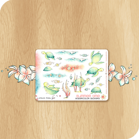 Summer 2020 Collection MINI SHEET - Decorative Illustrations - Turtles in the sea